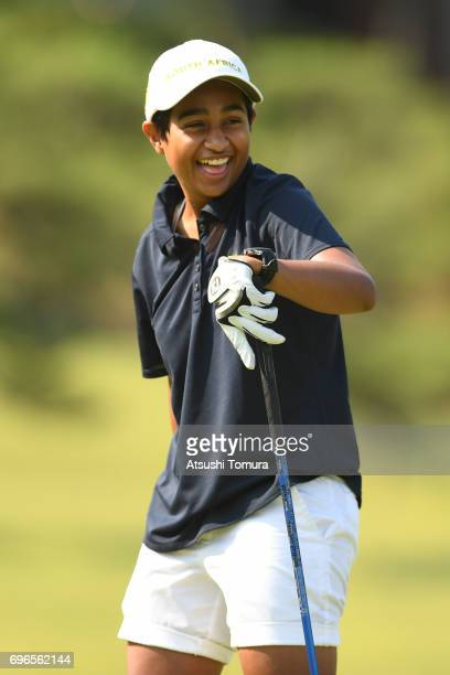 Kajal Mistry of South Africa smiles during the final round of the 2017 TOYOTA Junior Golf World Cup at the Chukyo Golf Club Ishino Course on June 16...