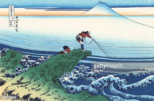 Kajikazawa in Kai Province from the ukiyoe series 36 Views of Mt Fuji Color woodblock print Circa 1830 Private collection