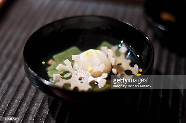 kajitsu - clear soup in bowl - japanese mugwort stock pictures, royalty-free photos & images