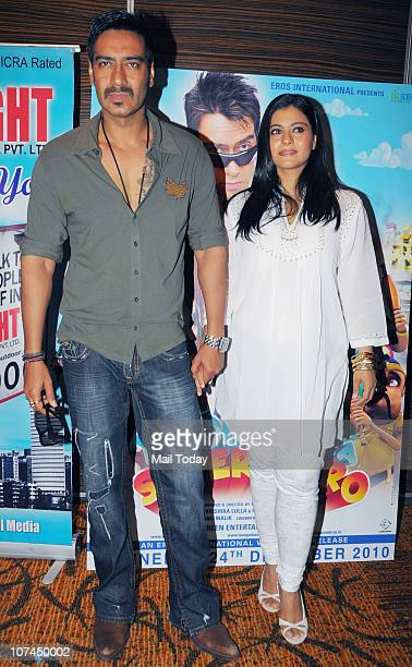 Kajol and Ajay Devgan at the music launch of the movie 'Toonpur Ka Superhero' at Novatel Juhu on December 8 2010