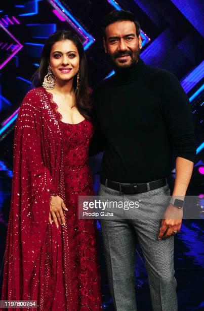 Kajol and Ajay Devgn attend the Tanhaji film Photocall at Dancs plus setfilmistan studio on January 06 2020 in Mumbai India