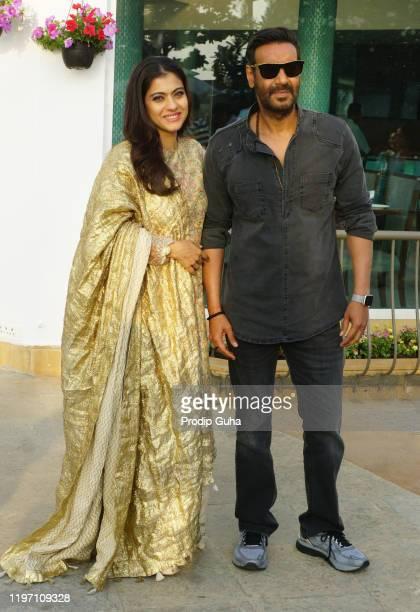Kajol and Ajay Devgn attend the Tanhaji film Photocall on January 022020 in Mumbai India