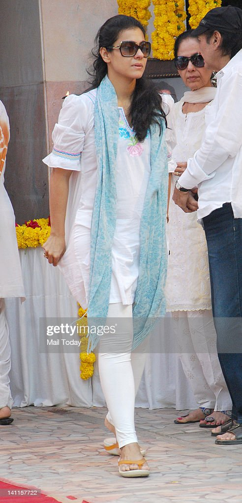 Kajol at Joy Mukherjee`s funeral ceremony held at Andheri Mumbai