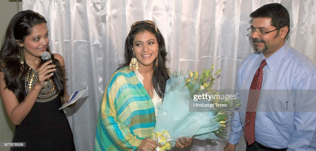 Kajol bollywood actress and brand ambassador of Tata Indicom at an event to introduce New Tata Indicom `Walky Talky` on June 6 2008 in New Delhi India