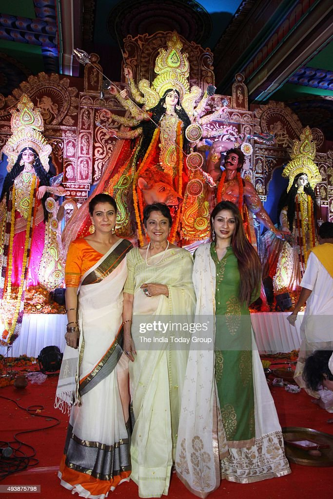 Kajol Devagan Tanuja and Tanishaa Mukerji at Durga pooja pandal in Mumbai
