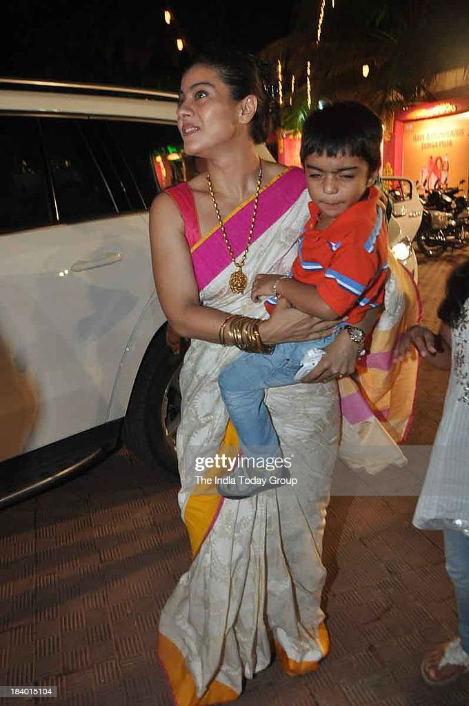 Kajol during Durga Puja celebrations in Mumbai