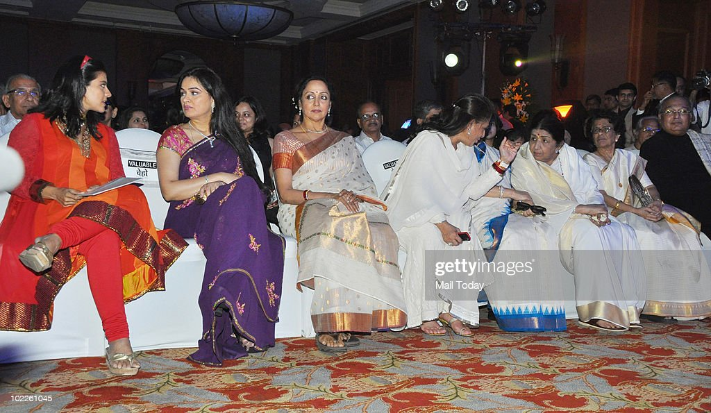 Kajol Padmini Kohlapuri Hema Malini Jaya Bachchan and Lata Mangeshkar at the launch of `Chehere` a coffee table book compiled by celebrity...
