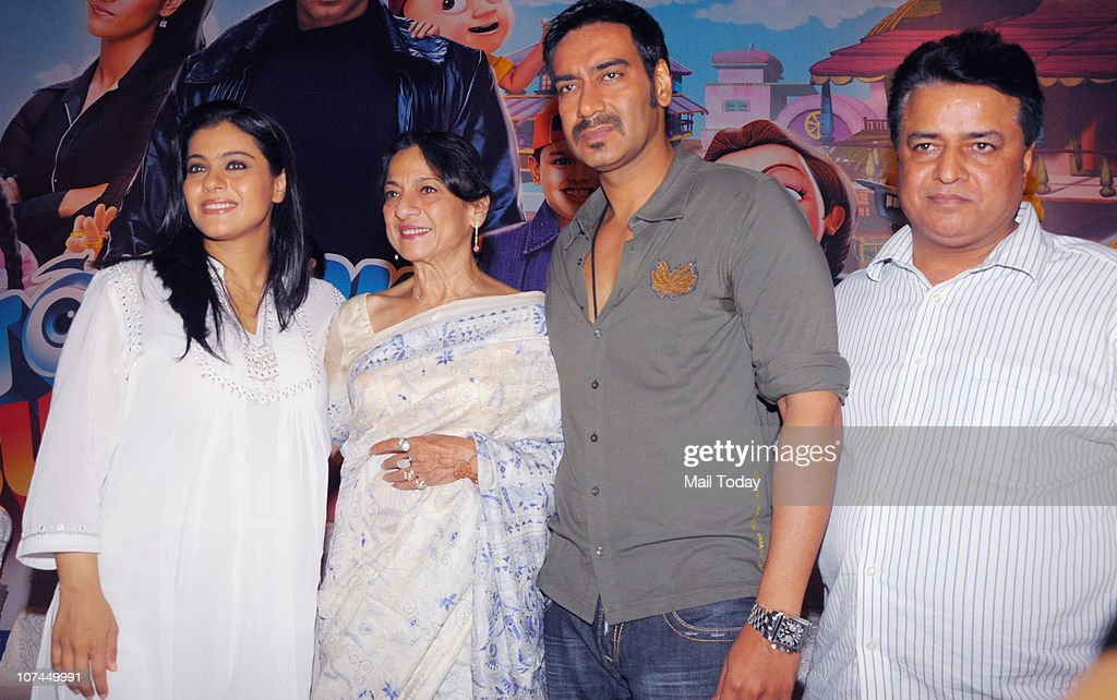 Kajol Tanuja Ajay Devgan and Kumar Mangat at the music launch of the movie `Toonpur Ka Superhero` at Novatel Juhu on December 8 2010