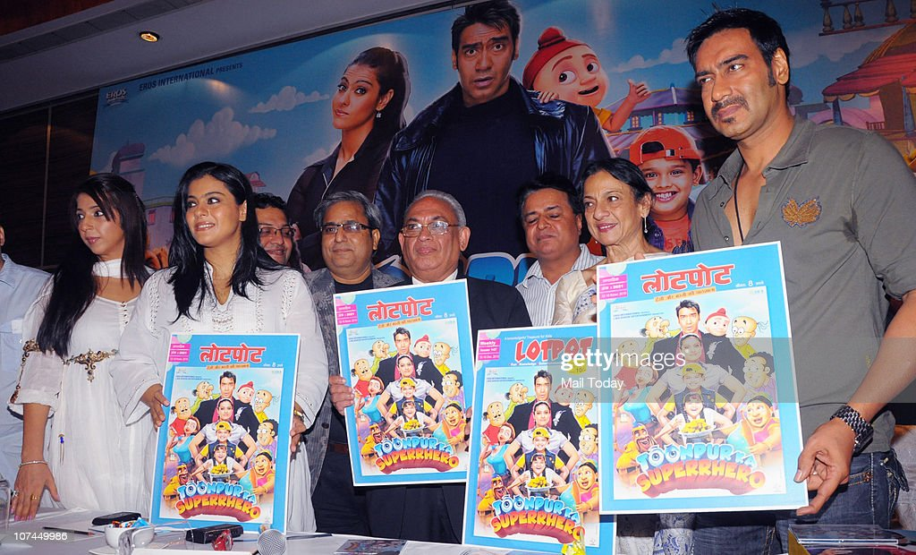 Kajol Tanuja and Ajay Devgan at the music launch of the movie `Toonpur Ka Superhero` at Novatel Juhu on December 8 2010