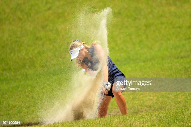 Kajsa Arwefjall of Sweden hits from a bunker on the 11th hole during the third round of the Toyota Junior Golf World Cup at Chukyo Golf Club on June...