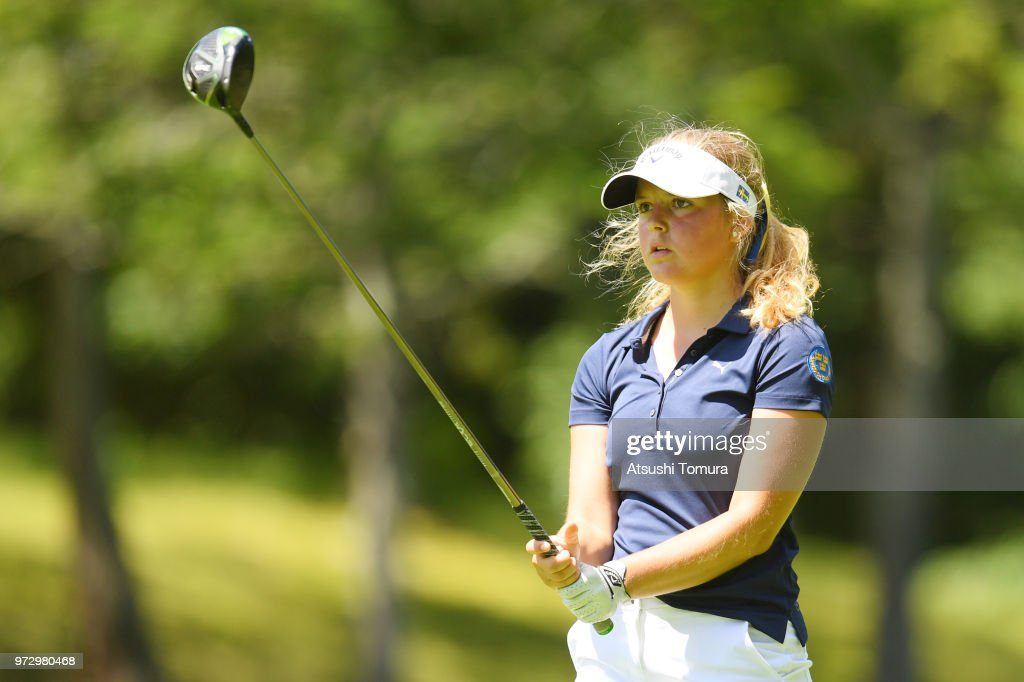 Kajsa Arwefjall of Sweden hits her tee shot on the 17th hole during the second round of the Toyota Junior Golf World Cup at Chukyo Golf Club on June 13, 2018 in Toyota, Aichi, Japan.