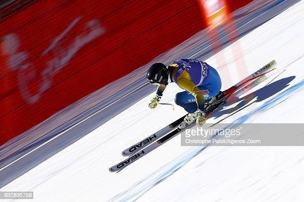 Kajsa Kling of Sweden in action during the Audi FIS Alpine Ski World Cup Women's Downhill Training on January 27 2017 in Cortina d'Ampezzo Italy