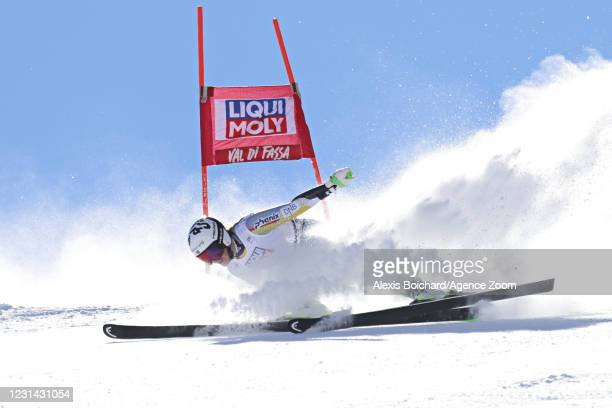 Kajsa Vickhoff Lie of Norway crashes out during the Audi FIS Alpine Ski World Cup Women's Super Giant Slalom on February 28, 2021 in Val di Fassa,...