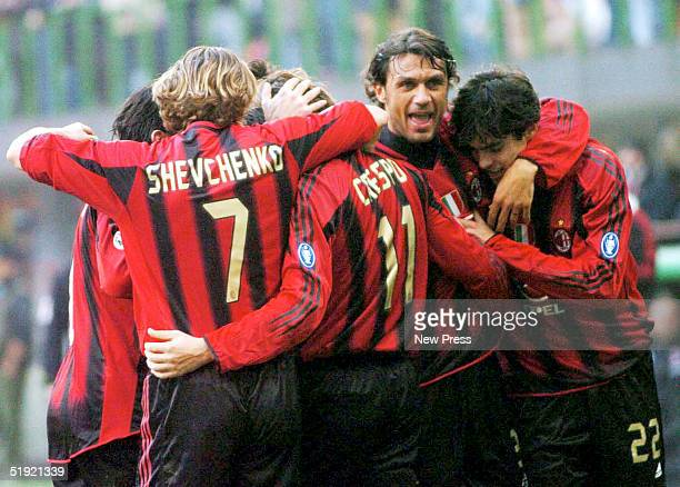 Kaka and Andrei Shevchenko of AC Milan celebrate a goal during the Serie A Match between Milan and Lecce at the Giuseppe Meazza San Siro Stadium on...