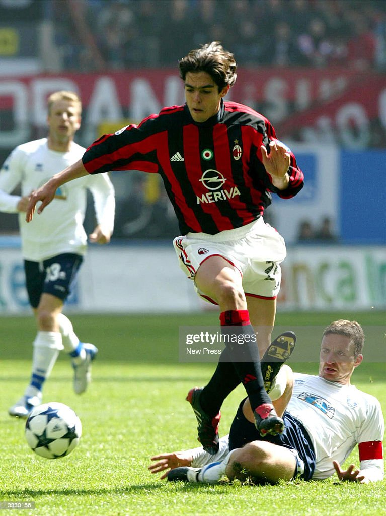 Kaka and Ficini in action during the Serie A match between Milan and Empoli April 10, 2004 in Milan, Italy.
