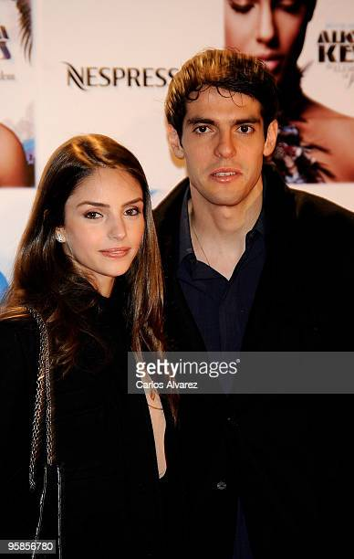 Kaka and his wife Caroline Celico attend Alicia Keys concert photocall at the Royal Theater on January 18, 2010 in Madrid, Spain.