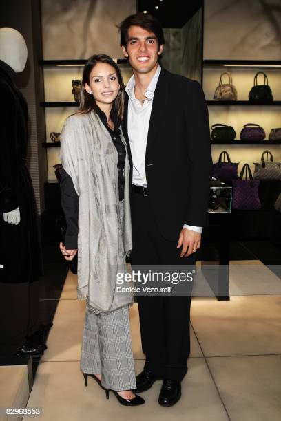 Kaka and his wife Caroline Celico attend the Giorgio Armani Boutique Opening Cocktail Party during Milan Fashion Week Spring/Summer 2009 on September...