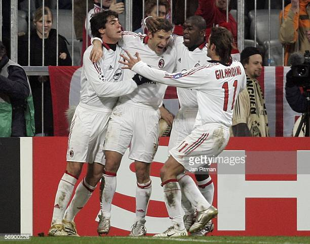 Kaka Andriy Shevchenko Clarence Seedorf and Alberto Gilardino of AC Milan celebrate after Shevchenko scored from the penalty spot during the UEFA...