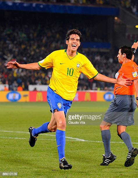 Kaka celebrates a goal during the FIFA Confederations Cup match between Italy and Brazil at Loftus Versfeld on June 21 2009 in Pretoria South Africa