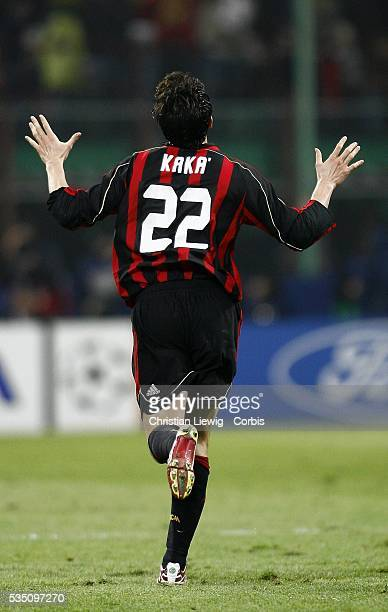 Kaka celebrates scoring a goal during the 20062007 UEFA Champions League match between Milan AC and Bayern Munich