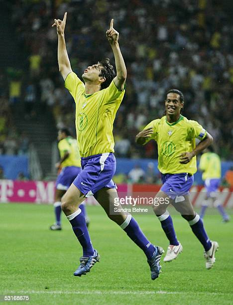 Kaka celelbrates hi goal during the FIFA 2005 Confederations Cup Final between Brazil and Argentina at the Waldstadion on June 29 in Frankfurt Germany