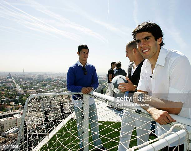 Kaka Cristiano Ronaldo and Karim Benzema of Real Madrid poses during a interview at Torre Europa on September 29 2009 in Madrid Spain