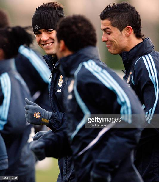 Kaka Cristiano Ronaldo and Marcelo run during a training session at Valdebebas on December 31 2009 in Madrid Spain