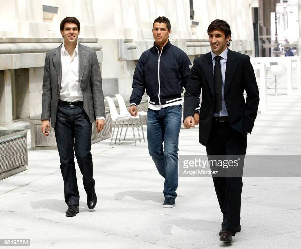 Kaka Cristiano Ronaldo and Raul Gonzalez of Real Madrid arrive at the UEFA Champions League trophy handover ceremony at Palacio de Cibeles on April...