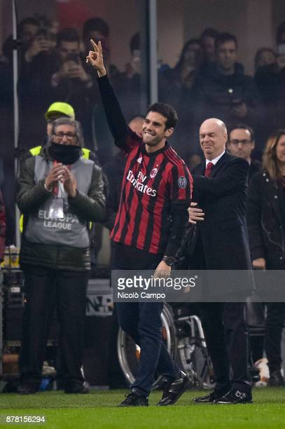 Kaka former player of AC Milan greets the supporters during the UEFA Europa League football match between AC Milan and FK Austria Wien AC Milan wins...