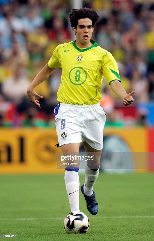 Kaka from Brazil runs with the ball during the match between Japan and Brazil for the Confederations Cup 2005 on June 22, 2005 at the RheinEnergie Stadium in Cologne, Germany.