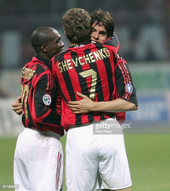 Kaka is congratulated by Andriy Shevchenko of Milan after his goal during the AC Milan v Fiorentina Serie A game on March 25 2006 at the San Siro in...