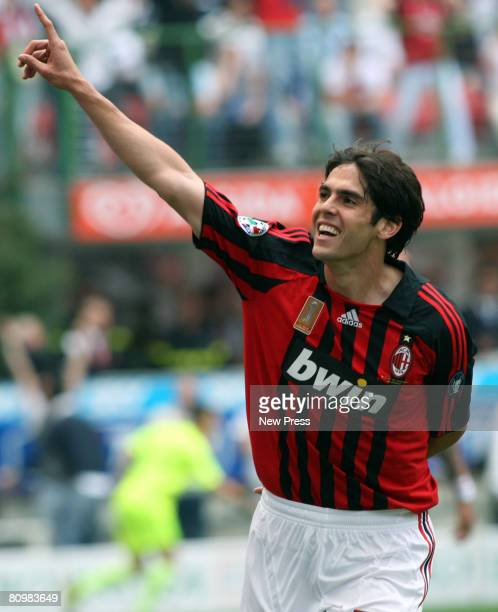 Kaka of AC Milan celebratea a goal during the Serie A match between Milan and Inter at the Stadio San Siro on May 4 2008 in Milan Italy