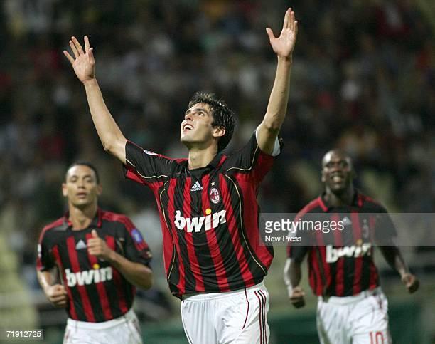Kaka of AC Milan celebrates after scoring a goal against Parma during the Serie A match between AC Milan and Parma at Tardini Stadium September 17...