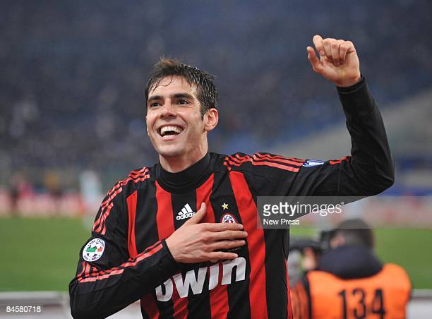 Kaka of AC Milan celebrates after scoring the 30 goal during the Serie A match between SS Lazio and AC Milan at the Stadio Olimpico on February 01...