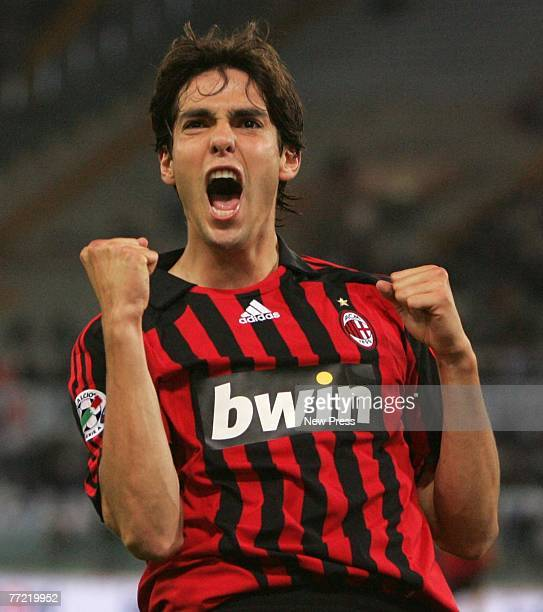 Kaka of AC Milan celebrates during the Serie A match between Lazio and AC Milan at the Stadio Olimpico on October 7 2007 in Rome Italy