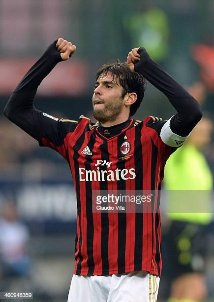 Kaka of AC Milan celebrates his second goal during the Serie A match between AC Milan and Atalanta BC at San Siro Stadium on January 6 2014 in Milan...