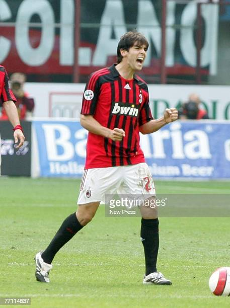 Kaka of AC Milan celebrates his strike during the Serie A match between AC Milan and Catania at the Stadio Giuseppe Meazza on September 30 2007 in...