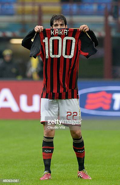 Kaka of AC Milan celebrates scoring his 100th goal for the club during the Serie A match between AC Milan and Atalanta BC at San Siro Stadium on...