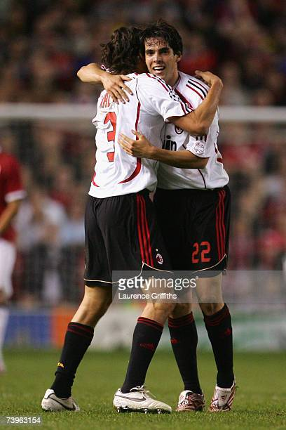 Kaka of AC Milan celebrates scoring his team's second goal with team mate Paolo Maldini during the UEFA Champions League Semi Final first leg match...