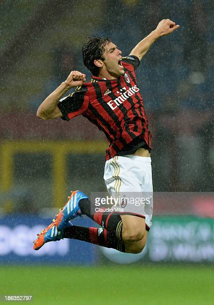 Kaka of AC Milan celebrates scoring the first goal during the Serie A match between AC Milan and SS Lazio at San Siro Stadium on October 30 2013 in...