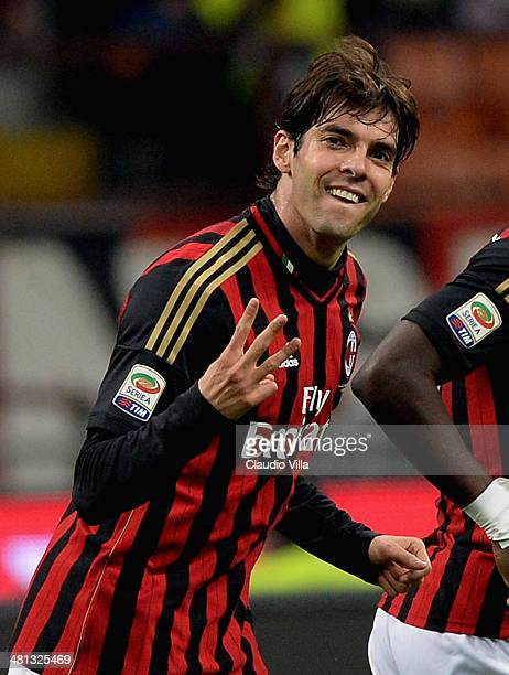 Kaka of AC Milan celebrates scoring the second goal during the Serie A match between AC Milan and AC Chievo Verona at San Siro Stadium on March 29,...