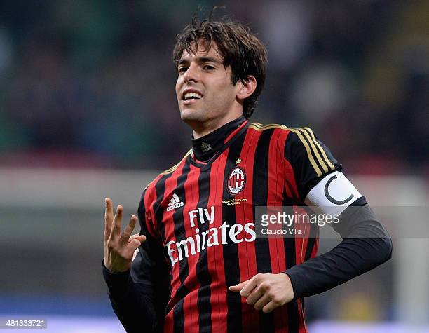 Kaka of AC Milan celebrates scoring the third goal during the Serie A match between AC Milan and AC Chievo Verona at San Siro Stadium on March 29,...