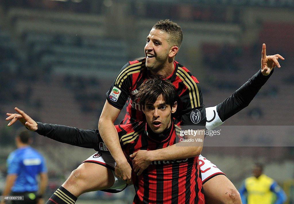 Kaka of AC Milan #22 celebrates scoring the third goal during the Serie A match between AC Milan and AC Chievo Verona at San Siro Stadium on March 29, 2014 in Milan, Italy.