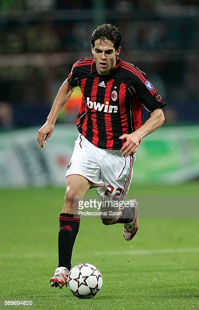 Kaka of AC Milan in action during the UEFA Champions League semi final second leg match between AC Milan and Manchester United at the San Siro...