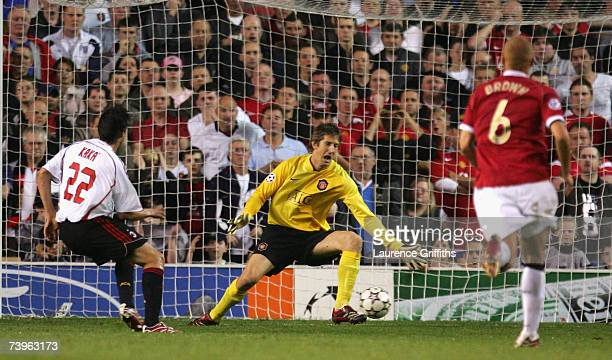 Kaka of AC Milan scores his team's second goal during the UEFA Champions League Semi Final, first leg match between Manchester United and AC Milan at...