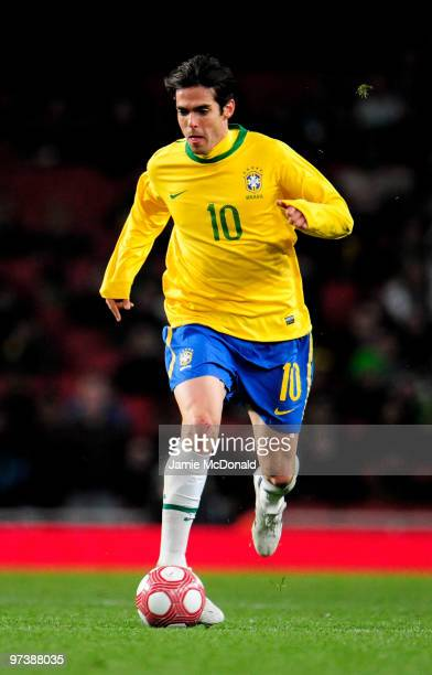 Kaka of Brasil in action during the International Friendly match between Republic of Ireland and Brazil played at Emirates Stadium on March 2 2010 in...