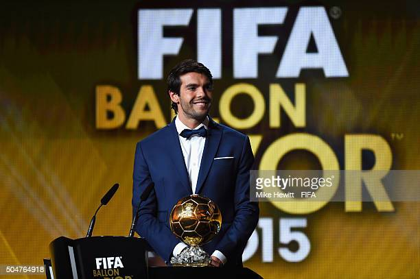 Kaka of Brazil appears on stage to announce Lionel Messi of Argentina and Barcelona as FIFA Ballon d'Or winner during the FIFA Ballon d'Or Gala 2015...