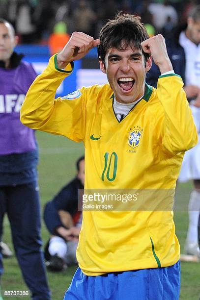 Kaka of Brazil celebrates during the 2009 Confederations Cup final match between Brazil and USA from Ellis Park on June 28 2009 in Johannesburg South...