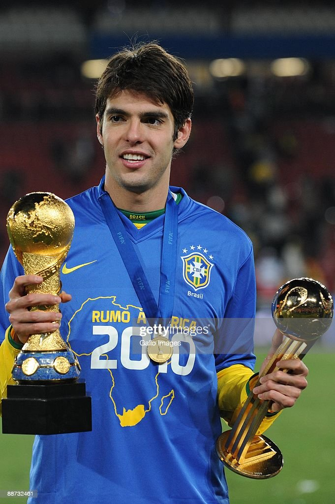 Kaka of Brazil celebrates during the 2009 Confederations Cup final match between Brazil and USA from Ellis Park on June 28, 2009 in Johannesburg, South Africa.
