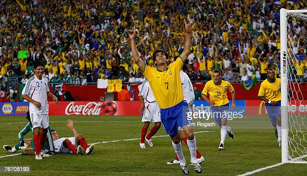 Kaka of Brazil celebrates his goal during a game between Mexico and Brazil at Gillette Stadium September 12 2007 in Foxboro Massachusetts